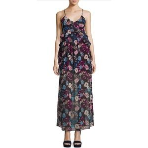 Romeo & Juliet Couture Ruffle Chiffon Maxi Dress M